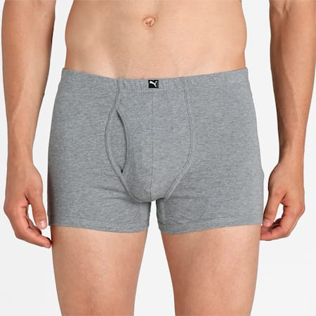 Basic Plain Men's Trunk Pack of 3, Light grey/mid grey/Dutch bl, small-IND