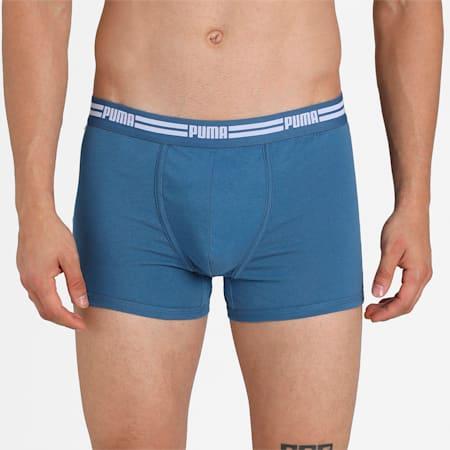 Basic Elastic Waitsband Men's Trunk Pack of 3, mid grey/light grey/dutch bl, small-IND