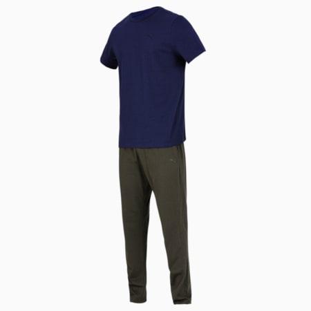 Basic  Men's  T-shirt + Jogger Set, Peacoat/Olive, small-IND