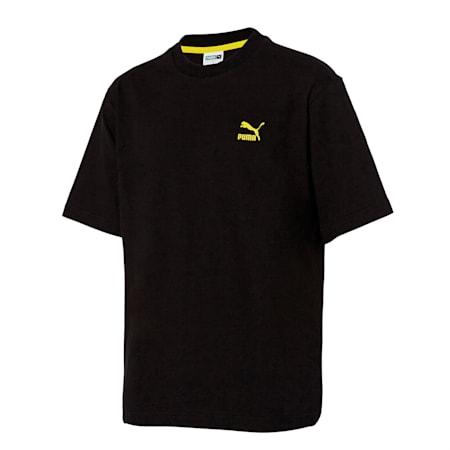 인터네셔널 비하인드 로고 반팔 티셔츠/INT'L Behind Logo Tee, puma black, small-KOR