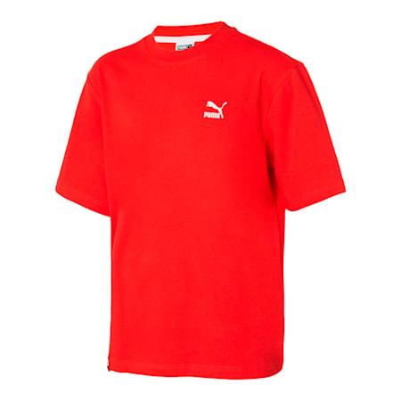 인터네셔널 비하인드 로고 반팔 티셔츠, flame scarlet, small-KOR