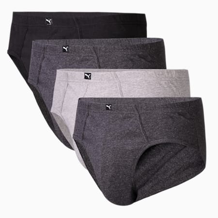 Basic Men's Plain Brief Pack of 4, Black/Md Grey/Lt Grey/Md Gre, small-IND