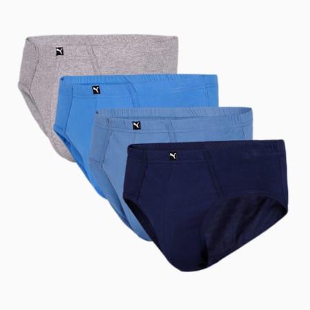 Basic Men's Plain Brief Pack of 4, Pcoat/Blue/Dtch blue/Lt grey, small-IND