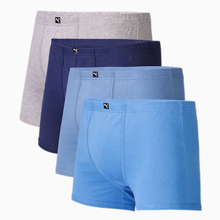 Basic Plain Men's Trunk Pack of 4, Pcoat/Blue/Dutch blue/Red, small-IND