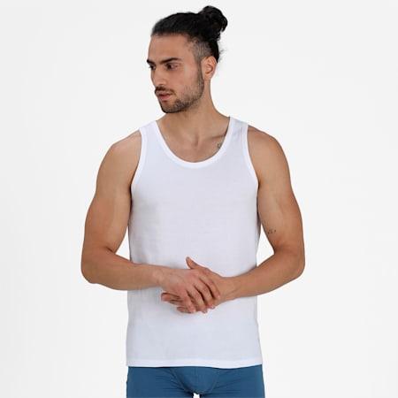Basic Sleeveless Men's Vest Pack of 3, White/White/White, small-IND