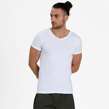 Basic V-Neck Men's Vest Pack of 3, White/White/White, small-IND