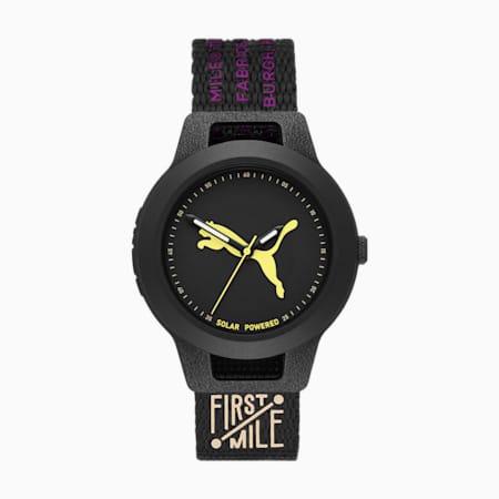 PUMA Reset V1 Solar zwart nylon horloge, Black, small