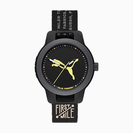 PUMA Reset Solar Nylon Uhr in Schwarz, Black, small