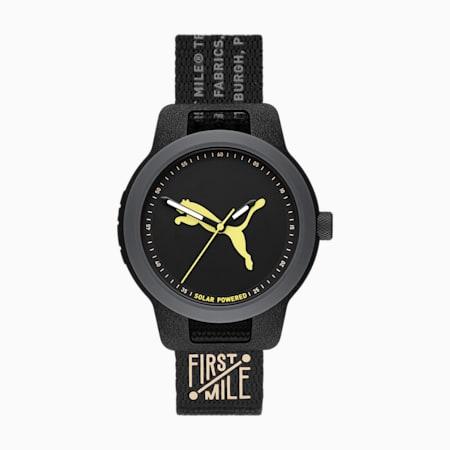 PUMA Reset Solar Black Nylon Watch, Black, small