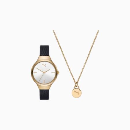 Czarny poliuretanowy zegarek z 3 wskazówkami PUMA Contour i łańcuszek na kostkę w zestawie, Black, small