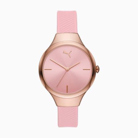 PUMA Contour Three-Hand Pink Polyurethane Watch, Pink, small