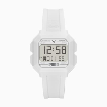 REMIX Unisex Digital Watch, White/White, small