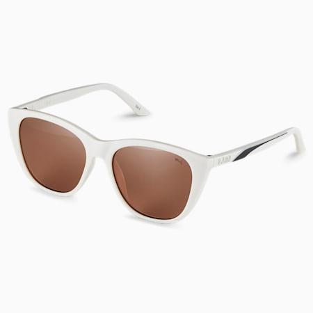 Gafas de sol con franja característica para mujer, GRIS-GRIS-MARRÓN, pequeño