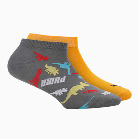 PUMA Graphic AOP Kid's Sneaker Socks Pack of 2, AOP/ Zinnia, small-IND