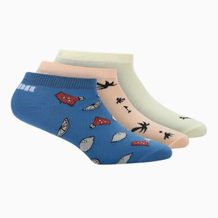 PUMA Seasonal Graphic Kid's Sneaker Socks Pack of 3, Peach Cobbler/ Star Sapphire, small-IND