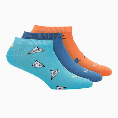 PUMA Aero Graphic Unisex Sneaker Socks Pack of 3, Scuba Blue/ Carrot/ Star Sap, small-IND