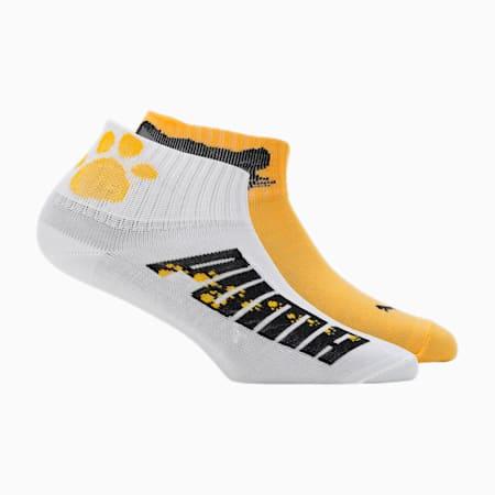 PUMA Mini Paws Girl'sSocks Pack of2, Black/ Yellow, small-IND