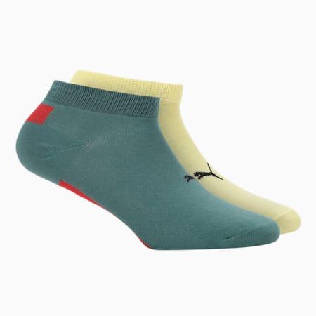 PUMA Stylised Unisex Sneaker Socks Pack of 2, Celandine/ Blue Spruce, small-IND