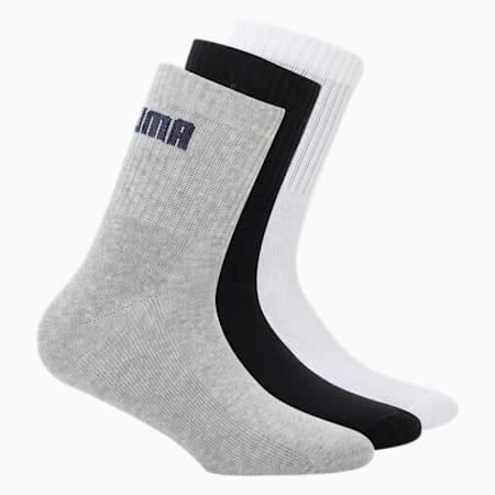 PUMA SportUnisex Quarter SocksPack of 3, black/white/grey, small-IND