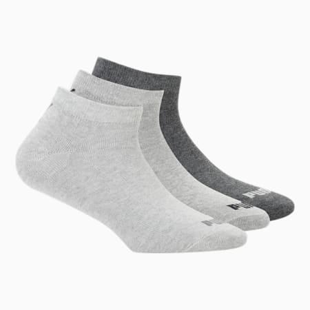 PUMA Unisex Plain Sneaker Socks Pack of 3, Dark Grey Heather/ Medium Grey Heather/Light Grey heather, small-IND