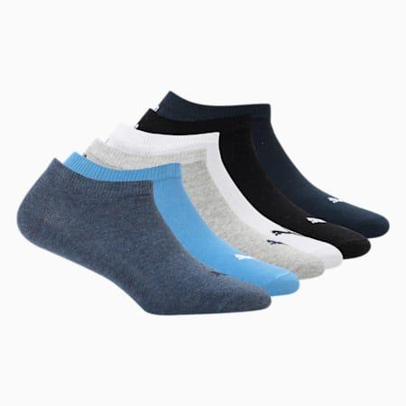 PUMA Unisex Plain Sneaker Socks Pack of 6, White/ Black/Navy/m grey/str, small-IND