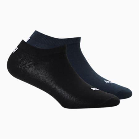 PUMA Unisex Plain Sneaker Socks Pack of 2, Black/ Navy, small-IND