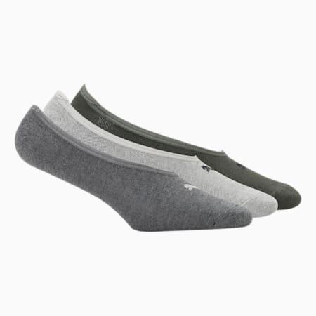PUMA Footie Unisex Socks Pack of 3, Forest Night/ Medium Grey Heather/Dark Grey heather, small-IND