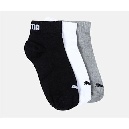 PUMA Unisex Plain Quarter Socks Pack of  3, grey/white/black, small-IND