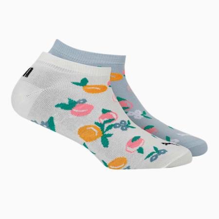 PUMA INTL Graphic Women's Sneaker Socks Pack of 2, Forever Blue/ Egg Nog, small-IND