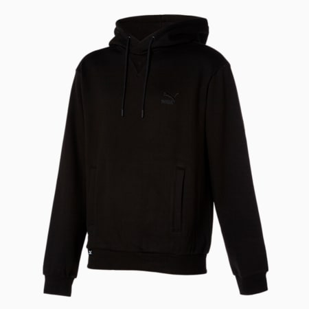 클래식스 엠브로이드 로고 후드 티 플리스/Classics Emb Logo Hoody FL, puma black, small-KOR