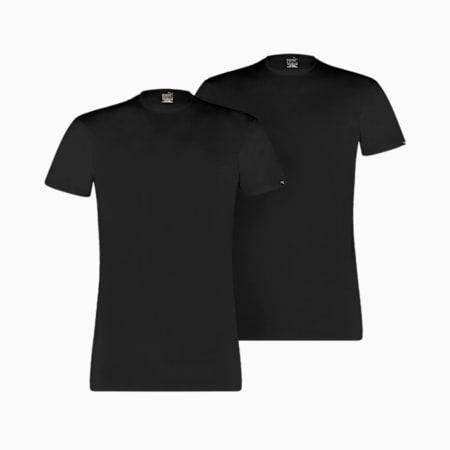 Pack de 2 camisetas básicas con cuello redondo para hombre, black, small