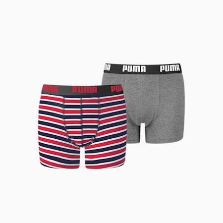 Classic Printed Stripe Boy's Boxers 2 pack, ribbon red, small-GBR