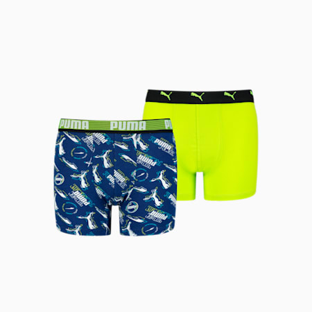 Kids' Alpha Print Boxer 2 pack, blue combo, small