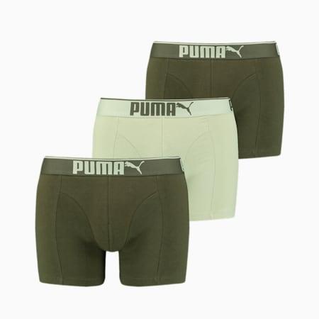 Lot de 3boxers en coton suédé Premium homme, green combo, small