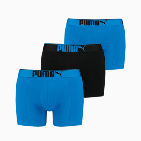 Premium Sueded Cotton Men's Boxers 3 pack, blue combo, small