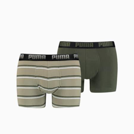 Herren Gradient Stripe Boxershorts 2er Pack, green combo, small
