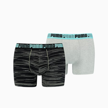 Herren Space-Dye Stripe Short Boxershorts 2er Pack, light grey m�lange / black, small