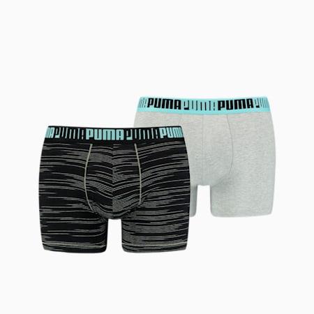 Męskie bokserki Space-dye w paski, dwupak, light grey m�lange / black, small