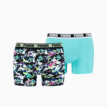 Men's Camo Boxer 2 pack, yellow / blue, small