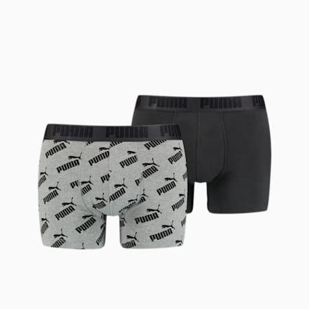 PUMA Men's All-Over-Print Logo Boxer 2 pack, dark grey melange / black, small