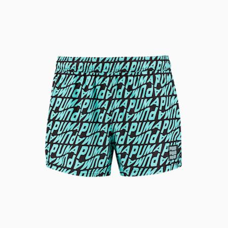Swim Men's Wave All-Over-Print Short Swimming Shorts, blue combo, small