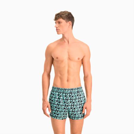 Męskie szorty kąpielowe z nadrukowanym wzorem fal na całej powierzchni Swim, blue combo, small