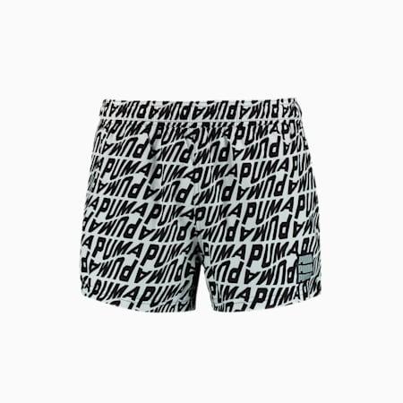 Swim Men's Wave All-Over-Print Short Swimming Shorts, white / black, small-GBR