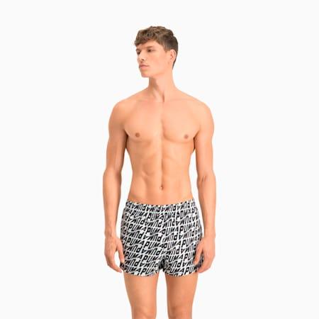 Swim Men's Wave All-Over-Print Short Swimming Shorts, white / black, small
