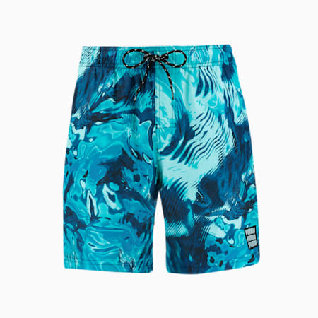 Swim Men's Reflection All-Over-Print Mid Shorts, blue combo, small