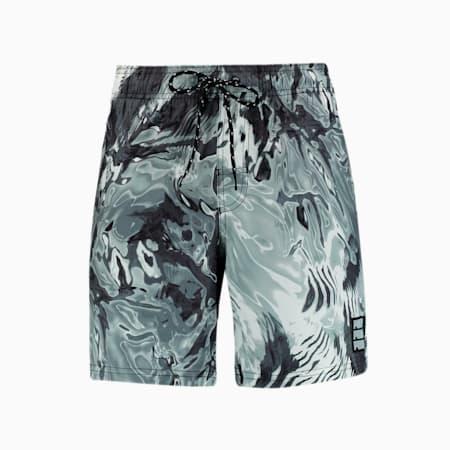 Swim Men's Reflection All-Over-Print Mid Shorts, black combo, small