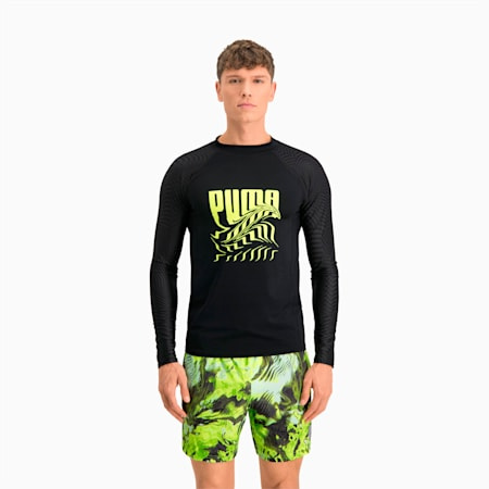 Swim Men's PsyGeo Rash Guard, black combo, small