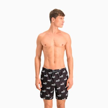 Swim Men's No. 1 Logo All-Over-Print Mid Shorts, black/white, small