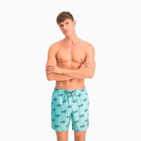 Męskie szorty kąpielowe o średniej długości nadrukiem z logo No. 1 na całej powierzchni Swim, blue / black, small