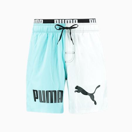 Swim Men's Colour Block Mid Shorts, blue combo, small